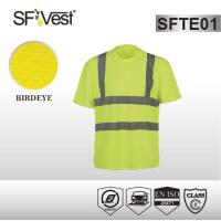 Buy cheap High vis bright color safety shirts with reflective tape , polyester birdeye mesh fabric product