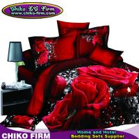 Buy cheap Pure Cotton Red Rose Reactive 3D Printed Queen King Bedding Sets from wholesalers