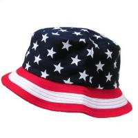 Buy cheap Custom bucket hats bulk black bucket hat with flag pattern print from wholesalers