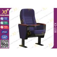Buy cheap Plywood Outback Retractable Auditorium Chairs Fully Upholstered Dark Blue Fabric from wholesalers