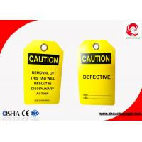 Buy cheap Durable Customized Lockout Tagout Labels Safety Tags for Equipment Yellow Color 0.5mm Thickness from wholesalers