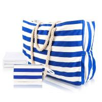 Buy cheap Striped Cute Fabric Canvas Tote Beach Bag Waterproof For Girls Ladies from wholesalers