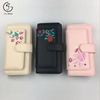 Buy cheap China Black Embroidered PU Leather Women Wallets from wholesalers