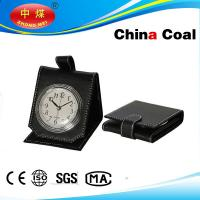 Buy cheap Folding Black Leather Alarm Clock Portable Artware from wholesalers