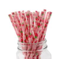 Buy cheap Fruits Pattern Pink Paper Straws Non Toxic Recyclable  And Biodegradable from wholesalers