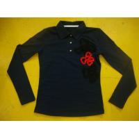 Cotton Spandex Bows Front Girls Stylish Top Rib Neck Long Sleeve Polo Shirts Kids