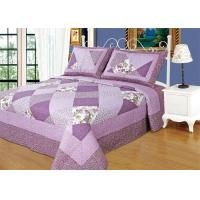 Buy cheap Irregular Cloud Stitching Quilt Comforter Sets , Purple Checkered Full Size Bedspread from wholesalers