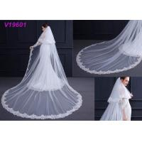 Buy cheap White Women Wedding Gown Accessories Veil With Lace Beading Decoration Design from wholesalers