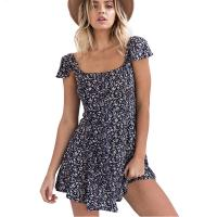 Buy cheap JS 200405 Square Neck Backless Casual Ladies Night Sexy Dress With Small Floral Prints from wholesalers