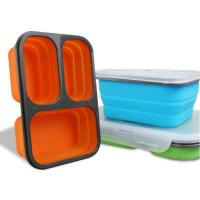 Buy cheap Hot sell Custom Oven Safe Folding 3 Compartment Silicone Food Containers Lunch Box from wholesalers