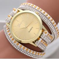 Buy cheap Korea Rope Braided Leather Geneva Flower Watch Gold Face , Geneva Wrap Watch from wholesalers