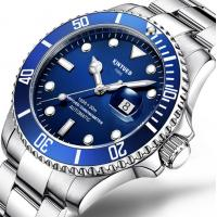 Buy cheap Luminous  Silver Stainless Steel Mechanical Watch  Blue Dial High Refraction from wholesalers