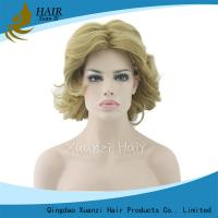 Buy cheap 8A Dark Blonde Short Synthetic Hair Wigs Short Ponytail Body Wave No Tangle from wholesalers