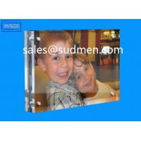 Buy cheap high quality small MOQ cheap price custom made acrylic block magnetic photo frame from wholesalers