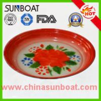 Buy cheap sunboat cast iron flower decal enamel round tray food serving tray product