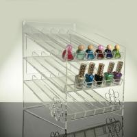 Buy cheap 3 - Tier Inclined Ladder Clear Acrylic Nail Polish Display Shelf Rack Black 4mm product