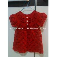 Buy cheap Short Sleeve Crochet Baby Skirt Red Handmade Crochet Baby Clothes White Buttons from wholesalers