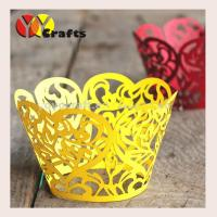 China Birthday cupcake wrapper heart leaves laser cut cupcake wrapper for Birthday Party favors on sale