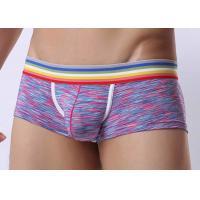 Low Waist Mens Underwear Boxer Briefs With Support Pouch , Rainbow Waistband