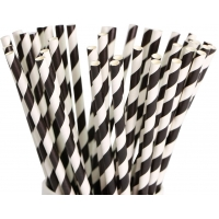 Buy cheap Eco Friendly 8.25 Inches Graduation Black Striped Disposable Paper Straws from wholesalers