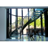 Buy cheap Interior glass tread curved staircase with stainless steel/ carbon steel stringer product