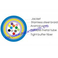 Buy cheap Armored 12 core single mode fiber optic cable Distribution Type Tight Buffered With Braid from wholesalers