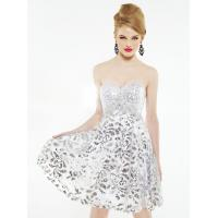 Buy cheap White Silver Empire Waist Short Evening Party Dress Mini with Lace from wholesalers