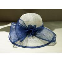 Buy cheap Navy White 57cm Womens Elegant Church Hats Sinamay Flower Bowknot from wholesalers