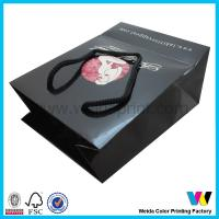 Buy cheap Black Printed Paper Shopping Bags With Black PP String Professional from wholesalers