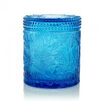 Buy cheap Carved Colored Glass Jar Tea Light Candles / Perfume Scented Candles WXC190910 from wholesalers