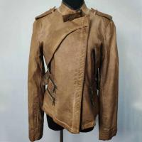 Buy cheap Brown PU Leather Fashion Ladies Jackets Zipper Closure S - XL Optional product