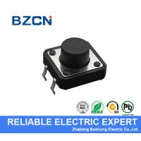 Black Round Button SMD Tactile Switch Through Hole Type For High Density Mounting