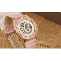 Buy cheap Analog Large Face Womens Wrist Watches Leather  Pink Fashion Hand Wind Mechanical Wrist Watch from wholesalers