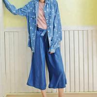 Buy cheap 100% Cotton Chambray Long Sleeves Shirt , Loose Fit Blouses For Young Ladies from wholesalers