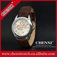 Buy cheap L005C6D Watch Wholesale Retailing Super Classic Wine Analog Pointer Leather Watches Unisex from wholesalers