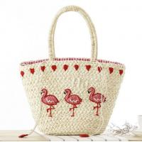 Buy cheap New Korean version of the hand-embroidered shoulder bag straw bag beach knitting female fashion flamingo from wholesalers