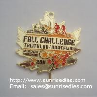 Buy cheap Gold plated designer triathlon medal with enamel color fill, China medal manufacturer from wholesalers
