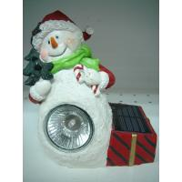 Buy cheap Antique Imitation Acrylic Epoxy Resin Crafts Snowman Solar Light Garden Sculptures Statues from wholesalers