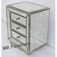 Buy cheap Antique Glass Mirrored Bedside Table , Professional Mirrored Bedroom Side Tables from wholesalers