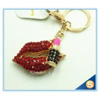 Buy cheap Sexy Red Lips Hot Rhineston Metal Key Chain Souvenir Key Ring from wholesalers