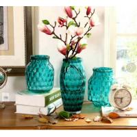 Solid Color Blue Glass Flower Vase Lead Free For Decorative Small Round Ball Outside