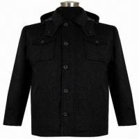 Buy cheap Men's casual jacket, made of wool melton fabric, with concealed zipper from wholesalers