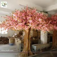 Buy cheap UVG pink wedding wishing tree artificial sakura flower trees for indoor decoration CHR013 from wholesalers