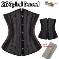 Buy cheap Women Plus Size Black 26 sprial bones steel boned Waist Cincher Trainer Underbust Lace up corset Top Shaper Girdle US from wholesalers