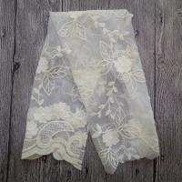Buy cheap White Embroidered Mesh Ivory Floral Lace Fabric , 130cm Wide Cotton Lace Dress Fabric product