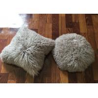 Single Sided Long Hair Mongolian Fur Pillow Light Grey Round / Rectangular Shape