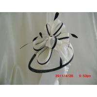 Buy cheap White And Black Stylish Church Ladies Fascinator Hats With Sinamay Bow , Feather from wholesalers