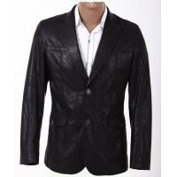 Buy cheap Custom Inexpensive Black and Size 46, Size 50, Fashion Mens PU Leather Blazers product
