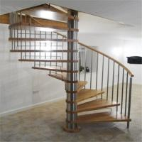 Buy cheap Modern solid wood tread spiral staircase with stainelss steel rod railing from wholesalers