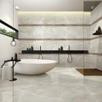 Buy cheap Light Grey Stone Look Bathroom Tiles , Porcelain Tile Flooring Anti Slip from wholesalers